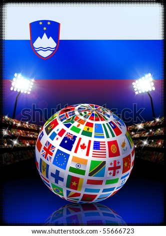 Flag Globe on Slovenia Stadium Soccer Match Original Illustration