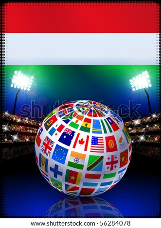 Flag Globe on Stadium Background Original Illustration