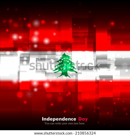 Flag. Glowing background with flag colors. Independence Day. Techno background. Abstract background. Used as an background, card, greeting, printed materials. Flag of Lebanon - stock vector