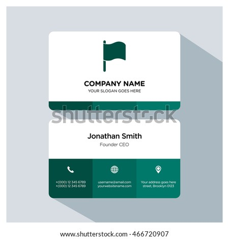 Flag icon. Business card template