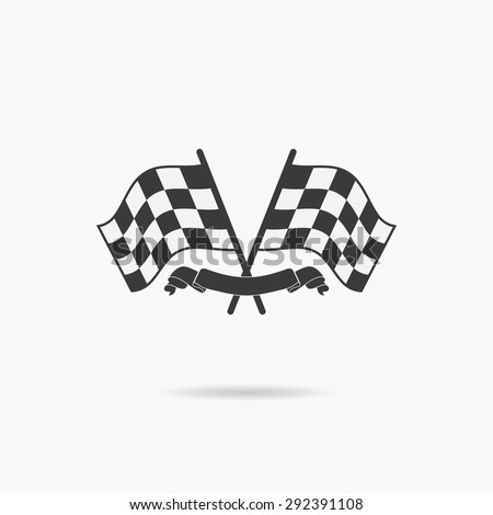 Flag icon. Checkered or racing flags and finish ribbon. Sport auto, speed and success, competition and winner, race rally, vector illustration. - stock vector