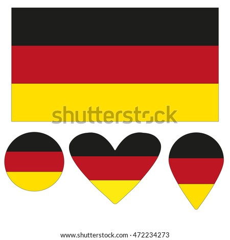 Flag Icon, Heart, Circle, a pointer, in the form of a flag of Germany. vector illustration