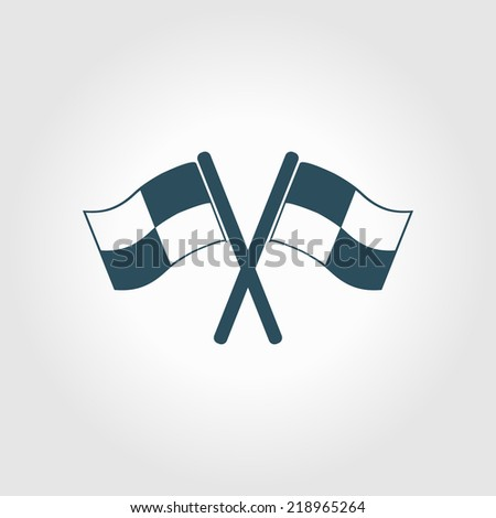 Flag icon. Location marker symbol. ��¡heckered flags sign. Flat design style. - stock vector