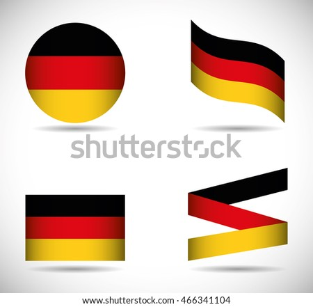 Flag icon set black red yellow. Germany. Isolated and Colorfull illustration