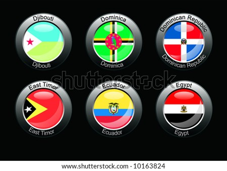 Flag icon set (part 9 - Djibouti, Dominica, Dominica Republic, East Timor, Ecuador, Egypt)