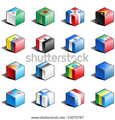 Flag icon set (part 4) Djibouti, Dominica, Dominican Republic, East Timor, Ecuador, Egypt, El Salvador, Equatorial Guinea, Eritrea, Estonia, Ethiopia, European Union, Fiji, Finland, France - stock vector