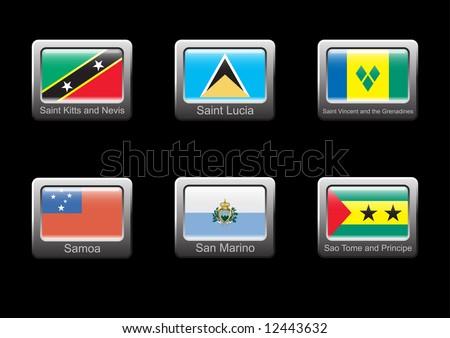 Flag icon set (part 25 – Saint Kitts and Nevis, Saint Lucia, Saint Vincent and the Grenadines, Samoa, San Marino, Sao Tome and Principe) - stock vector