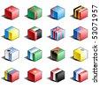 Flag icon set (part 12) Turkey, Turkmenistan, Tuvalu, Uganda, Ukraine, United Arab Emirates, Great Britain, USA, Uzbekistan, Vanuatu, Vatican, Venezuela, Vietnam, Yemen, Yugoslavia - stock vector