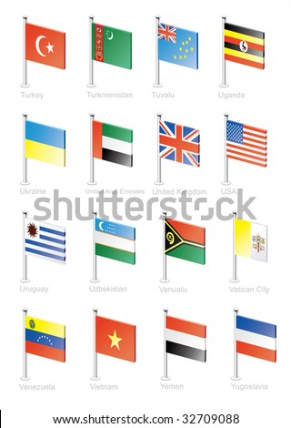 Flag icon set (part 12) Turkey, Turkmenistan, Tuvalu, Uganda, Ukraine, United Arab Emirates, Great Britain, USA, Uzbekistan, Vanuatu, Vatican, Venezuela, Vietnam, Yemen, Yugoslavia
