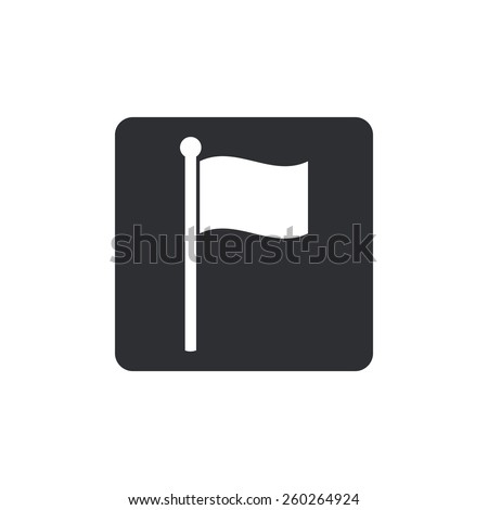 flag icon website mark map sign symbol element. Rounded squares button, on white background. - stock vector