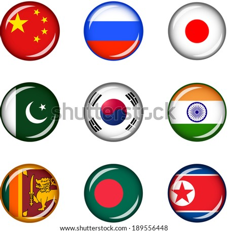 Flag Icons of Asia 1. Vector graphic images of glossy flag icons representing countries within Asia.  - stock vector
