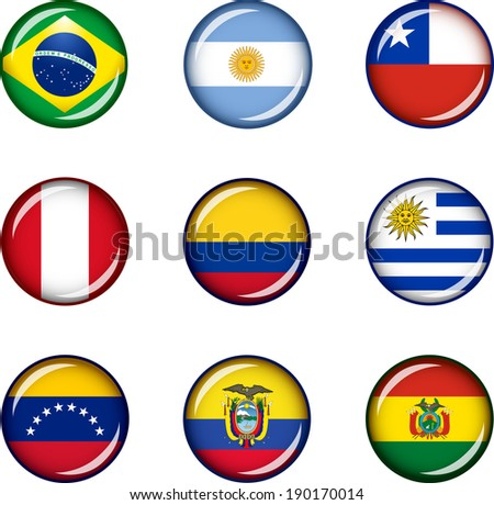 Flag Icons of South America. Vector graphic images of glossy flag icons representing countries within South America.  - stock vector