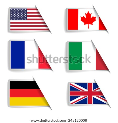 Flag inserting to slots - stock vector