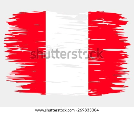 Flag made paint brush. By the day of the country or state holiday. Image. Vector. Icon. Flag of Peru - stock vector