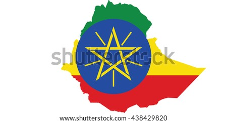 Flag-map of Ethiopia