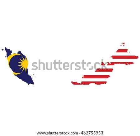 Flag Map Malaysia Stock Vector Shutterstock - Map of malaysia