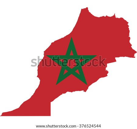 Flag map of Morocco