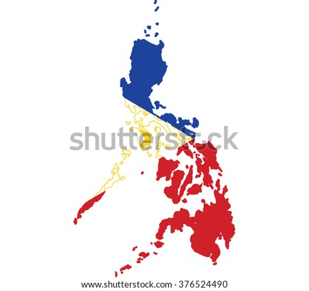 Flag map of Philippines - stock vector