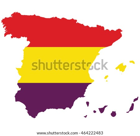 flag map of Spain with Second Spanish Republic