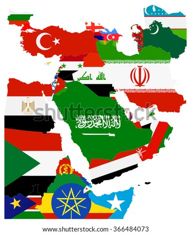 Flag Map of the Middle East. All elements are separated in editable layers clearly labeled.