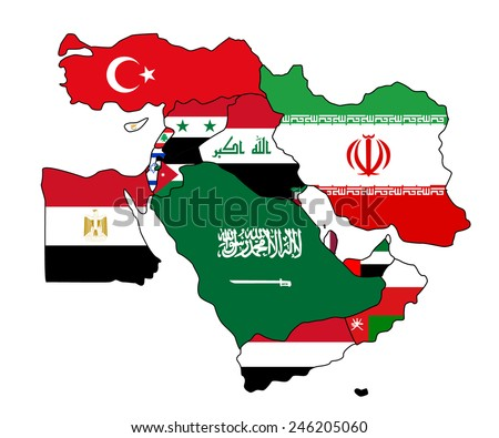 Flag map of the middle east. The middle east with each country colored in with its map. - stock vector