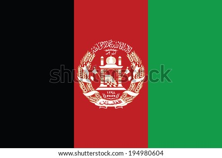 Flag of Afghanistan. Vector. Accurate dimensions, elements proportions and colors. - stock vector