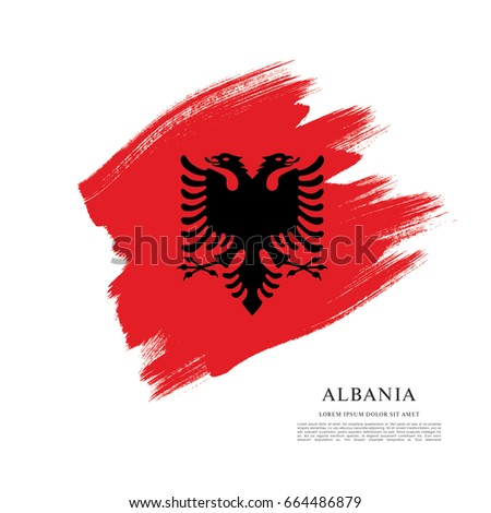 Flag Albania Brush Stroke Background Vectores En Stock 664486879 ...