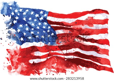 Flag of America, hand-drawn watercolor on white background - stock vector