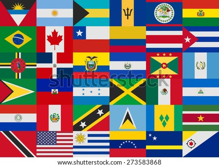 flag of america states vector set - stock vector
