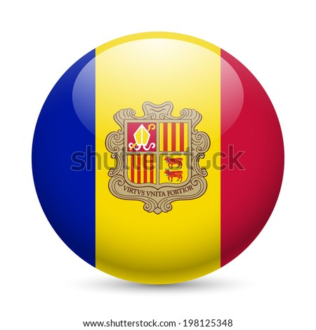 Flag of Andorra as round glossy icon. Button with Andorran flag - stock vector