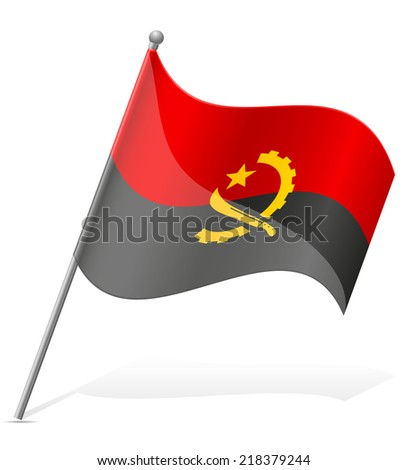 flag of Angola vector illustration isolated on white background - stock vector