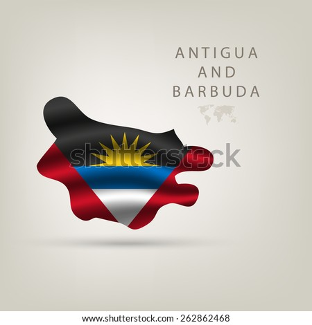 Flag of Antigua and Barbuda as  country with a shadow - stock vector