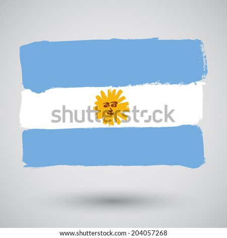 Flag of Argentina in grunge style - stock vector
