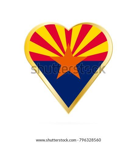 Flag Arizona Shape Heart Symbol Love Stock Photo Photo Vector