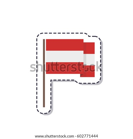 Flag of austria sticker isolated on white background vector illustration