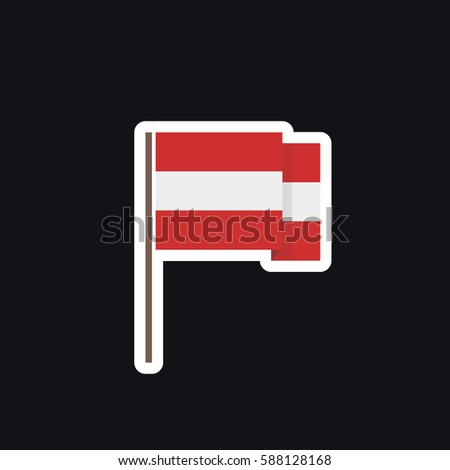 Flag of austria sticker vector illustration