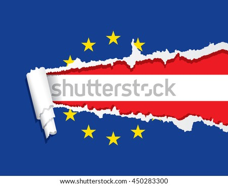 Flag of Austria under ripped flag of the European Union, vector illustration. - stock vector