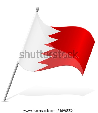 flag of Bahrain vector illustration isolated on white background - stock vector