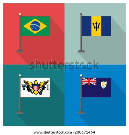 Flag of Barbados - Flag of Anguilla - Flag of Brazil - Flag of Virgin Islands - The flat design of the 4 country flag on the flagpole . Modern World Flag design, Vector illustration template design