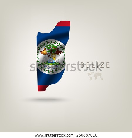 Flag of BELIZE as a country with a shadow - stock vector