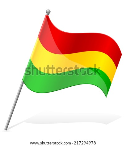 flag of Bolivia vector illustration isolated on white background - stock vector