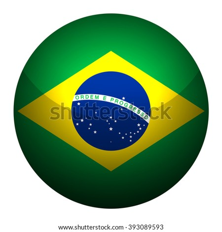 Flag of Brazil  Glossy Button