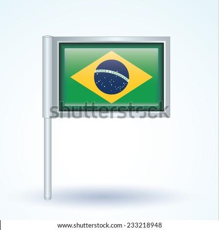 Flag of Brazil, vector illustration - stock vector