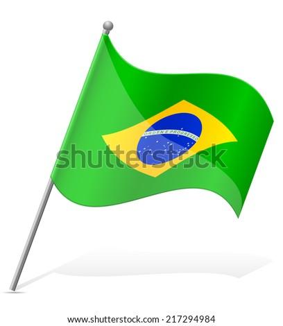 flag of Brazil vector illustration isolated on white background - stock vector