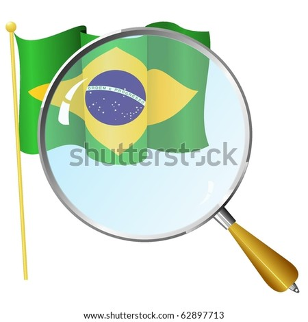 Flag of Brazil with a magnifying glass - stock vector
