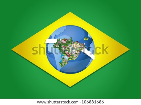 Flag brazil world map cities brazil vectores en stock 106881686 flag of brazil with world map cities of brazil gumiabroncs Choice Image