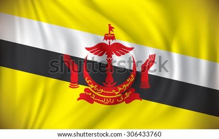 Flag of Brunei - vector illustration - stock vector