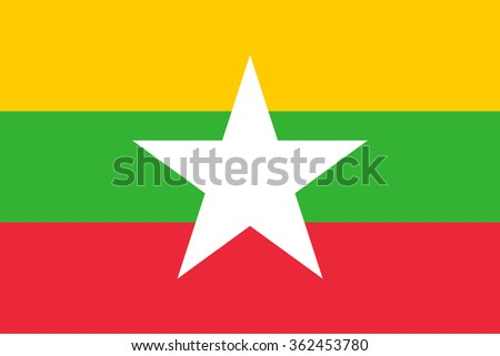 Flag of Burma (the Republic of the Union of Myanmar)