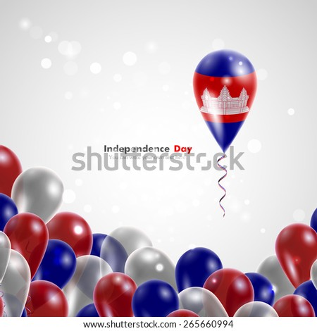 Flag of Cambodia on balloon. Celebration and gifts. Ribbon in the colors of the flag are twisted under the balloon. Independence Day. Balloons on the feast of the national day.  - stock vector