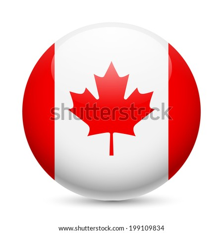 Flag of Canada as round glossy icon. Button with Canadian flag - stock vector